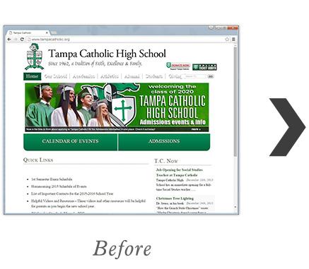 RediSite Example: Tampa Catholic High School Website BEFORE