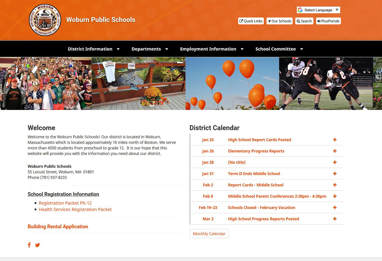 Woburn Public Schools Website Screen
