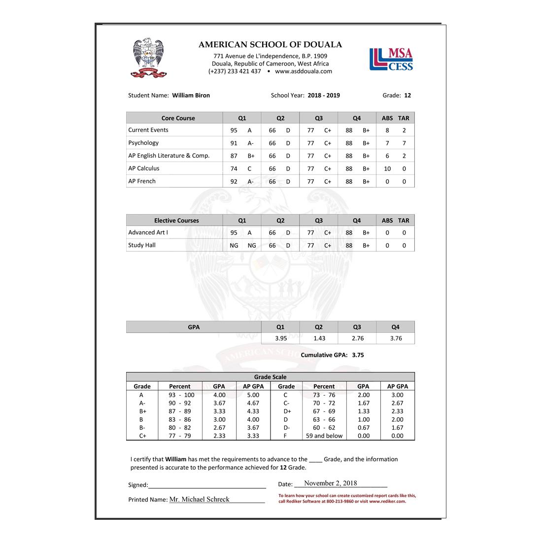 report card 75 grade  Report Card Software - Grade Management | Rediker Software