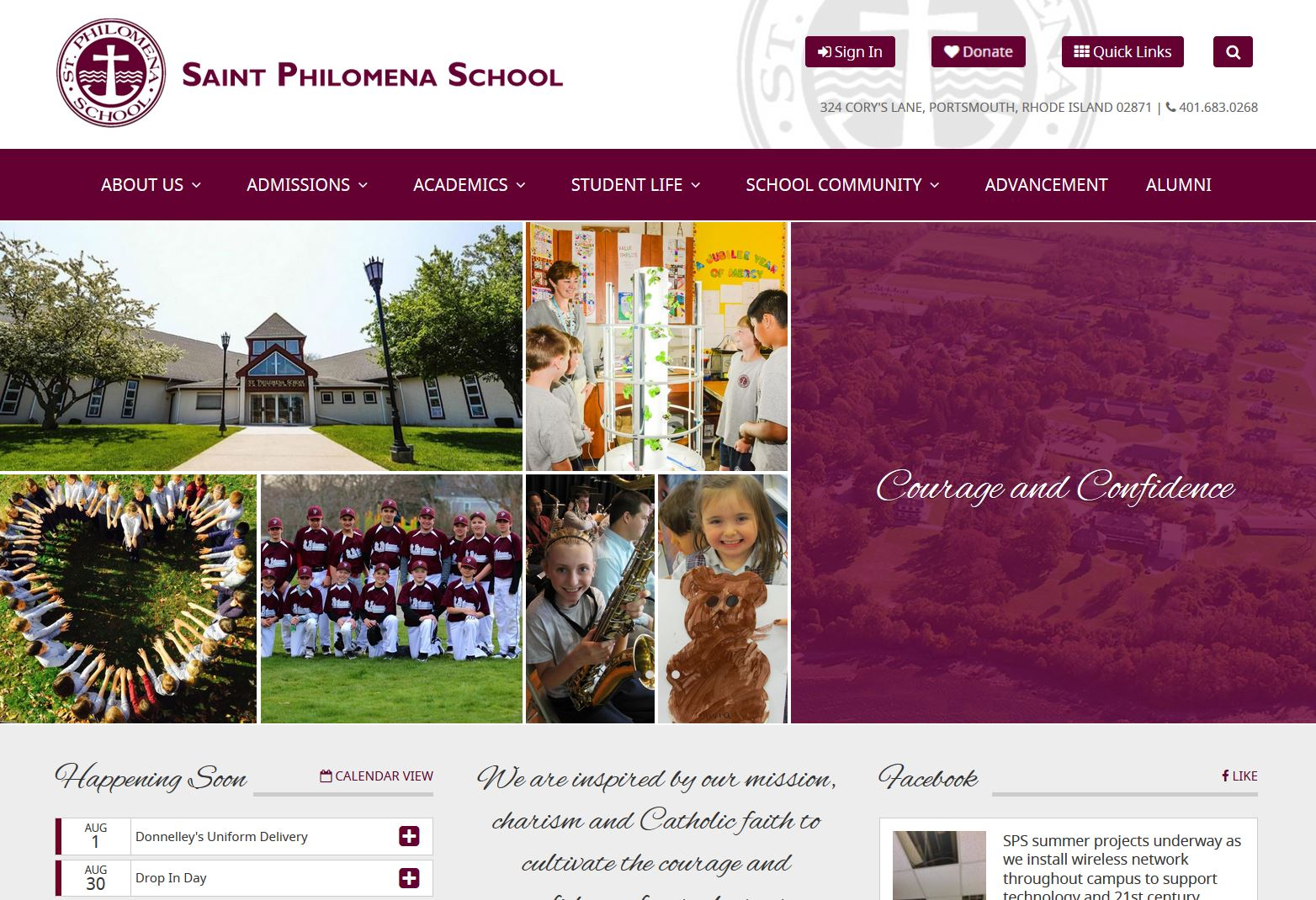 St. Philomena School Website Screen