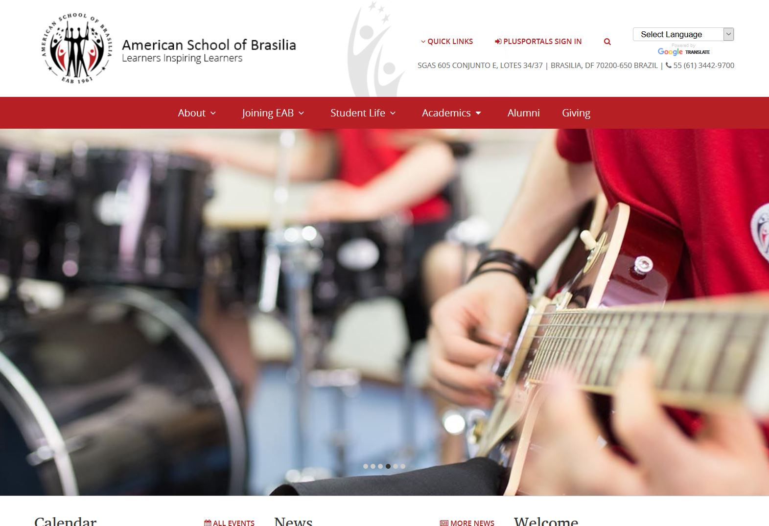 American School of Brasilia Website Screen