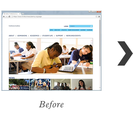 RediSite Example:  Fontbonne The Early College of Boston Website BEFORE