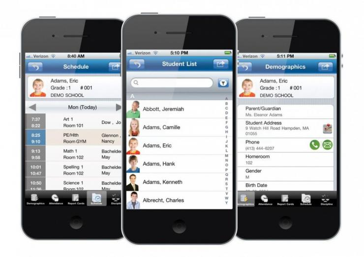 AdminPlus Screens on Three Mobile Devices